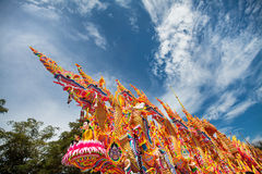 Dragging boat, famous tradition of Thailand. Chak Phra Festival – Celebrates the return of Buddha from heaven to earth and to be greeted by multitudes Stock Photos