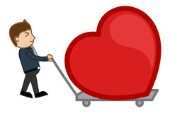 Dragging a Heart in a Trolley Royalty Free Stock Images