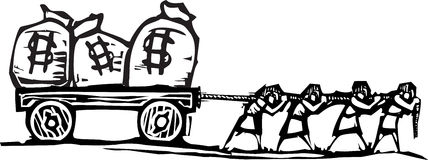 Dragging Money royalty free illustration
