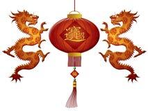 Draghi cinesi 2012 della lanterna di nuovo anno Immagine Stock Libera da Diritti
