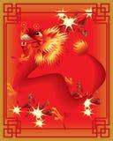 Draghi cinesi sulla priorità bassa di colore Fotografia Stock Libera da Diritti