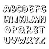 Dragit alfabet för klotter hand Arkivbild
