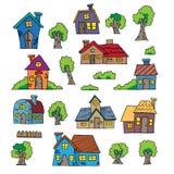 Dragit hus för tecknad film hand Royaltyfri Bild