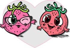 Dragit i tecknad filmstil av två le jordgubbevänner stock illustrationer