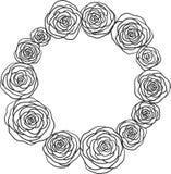 Dragit klotter för rosor blom- hand stock illustrationer