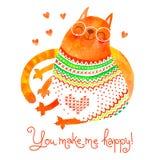Dragit kort för vattenfärg hand med en gullig katt Arkivfoto