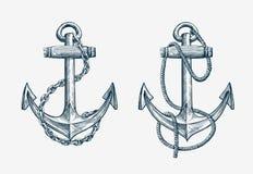 Dragit nautiskt ankare för vektor hand Tappning skissar beståndsdelskeppet, lopp royaltyfri illustrationer