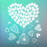 Dragit romantiskt kort för vektor hand, affisch Retro cykel med hand drog kort och ballons omkring Dag för valentin s stock illustrationer