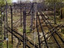 Dragkraft och järnväg infrastruktur royaltyfri bild