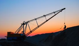 Dragline. View of open cast mining quarry Royalty Free Stock Image