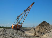 Dragline. In open cast mining quarry Royalty Free Stock Images