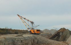 Dragline. In open cast mining quarry Stock Images