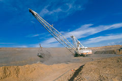 Dragline in open cut coal mine Stock Images