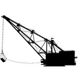 Dragline som går grävskopan med en slev vektor Fotografering för Bildbyråer