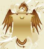 Dragón con una bandera Imágenes de archivo libres de regalías