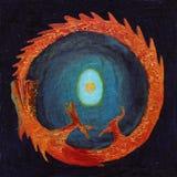 Dragón del fuego que muerde su cola Foto de archivo libre de regalías