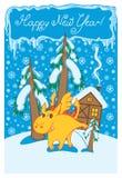 Dragón en paisaje del invierno Fotografía de archivo libre de regalías