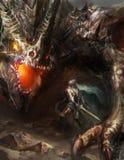 Dragón que lucha del caballero Imagen de archivo