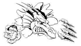 Dragón que rasga a través de la pared Foto de archivo libre de regalías
