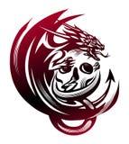 Dragón que se sienta en un cráneo, tatuaje Foto de archivo