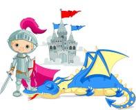 Dragón y caballero Imágenes de archivo libres de regalías