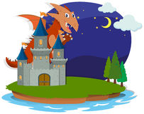 Dragón y castillo en la noche Imágenes de archivo libres de regalías