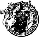 Dragón y mago Fotografía de archivo