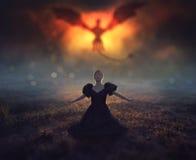 dragón y muchacha Fotografía de archivo libre de regalías