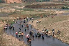Dragnet fishing, ethnic Thai in Vietnam Stock Photo