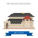Dragning för lägenhet för Sri Dalada Maligawa Sri Lanka gränsmärkevektor stock illustrationer