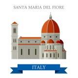 Dragning för Santa Maria del Fiore Florence Italy lägenhetvektor vektor illustrationer