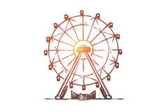 Dragning Ferris, hjul, munterhet, underh?llningbegrepp Hand dragen isolerad vektor vektor illustrationer