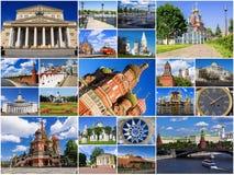 Dragningar av Moskva, Ryssland (collage) royaltyfri bild