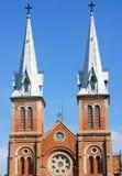 Dragningsdetalj av den Notre Dame domkyrkan, Ho Chi Minh stad Fotografering för Bildbyråer