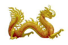 Drago cinese dorato sul fondo dell'isolato Immagini Stock Libere da Diritti