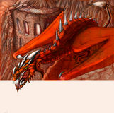 Drago. Colored picture of dragon guarding the castle in mountains Stock Images