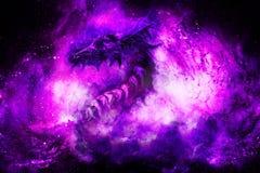 Drago cosmico nello spazio, fondo astratto cosmico illustrazione di stock