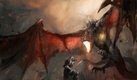 Dragão de combate do cavaleiro Fotos de Stock Royalty Free