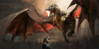 Dragão de combate do cavaleiro Imagem de Stock