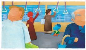 Drago del blu di bambino nel treno Fotografia Stock Libera da Diritti