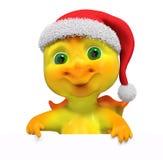 Drago del carattere di Natale con la rappresentazione del manifesto 3d Immagini Stock