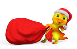 Drago del fumetto del carattere di Natale che porta la rappresentazione rossa del sacco 3d Immagini Stock