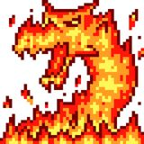 Drago del fuoco di arte del pixel di vettore illustrazione vettoriale