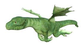drago del Hatchling di fantasia della rappresentazione 3D su bianco Fotografie Stock Libere da Diritti