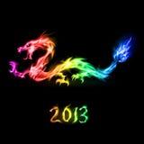 Drago dell'arcobaleno del fuoco Fotografia Stock