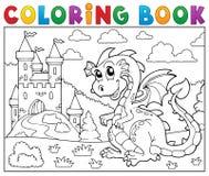 Dragão do livro para colorir perto do tema 2 do castelo Imagens de Stock Royalty Free