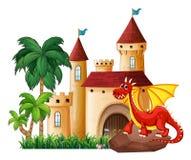 Drago e castello Fotografia Stock Libera da Diritti
