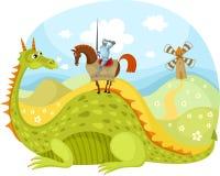 Drago e cavaliere Immagini Stock Libere da Diritti