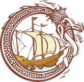 Drago e nave illustrazione di stock