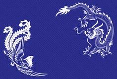 Dragão e Phoenix chineses Imagens de Stock Royalty Free